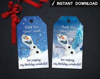 Instant Download - Frozen Olaf Thank You Tag Frozen Snowman Snow Gift Tags Birthday Party Favor Printable DIY - Digital File