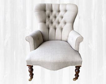 Provence Armchair Chair In Natural Linen Fabric Bespoke *Handmade in UK*
