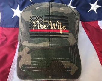 Ladies Thin red line Fire fighter wife American flag, Fire Wife camo hat, fire cap, Firefighter's wife embroidered red line camo hat, fire