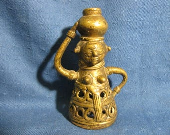 Small Unusual Brass Figure of Woman with Pot