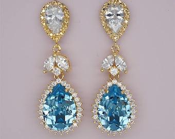 Blue Wedding Earrings, Blue Bridesmaids Earrings, Swarovski Crystal Drop Earrings, Aquamarine Wedding Jewelry for Brides, Gold or Silver