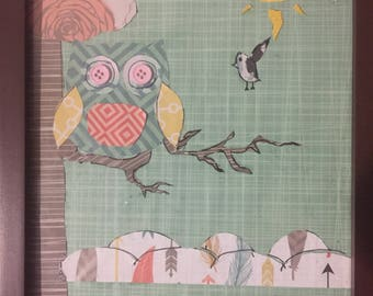 Owl sitting in tree for  Baby Nursery