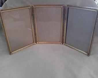 Vintage Photo Frame Gold Hollywood Regency Tri frame