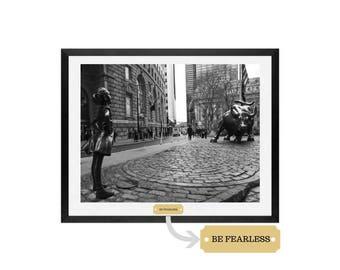 Fearless Girl, Feminism Art, Charging Bull Statue, Wall street Art,Fearless, Girl power art, Fearless, Be fearless, girl decor