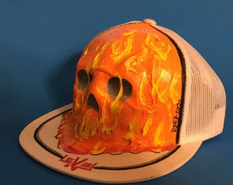 Skull in flames hat