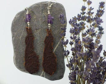Amethyst Leather Earrings • Leather Jewlery • amethyst