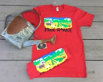 Organic Cotton Unisex FREE RANGE T-Shirt. Farm T-Shirt, Farmers Market, Organic Farming, Gardening Gift