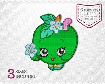Shopkins Apple Blossom Embroidery Machine Design - 3 Sizes - INSTANT DOWNLOAD - Applique, Embroidery, Designs