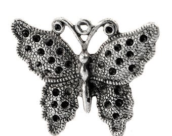1 charm 34x26mm antique silver Butterfly charm pendant