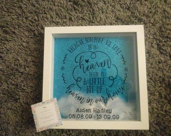 Personalised Memorial Because someone we love is in Heaven frame