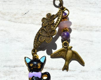 Bag charm or Keychain / cat and bird