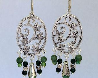 Earrings dangle charms jade stones