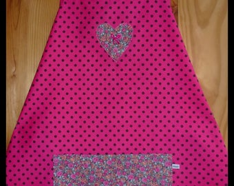 Fuchsia pouch and with applied black polka dot apron, one size