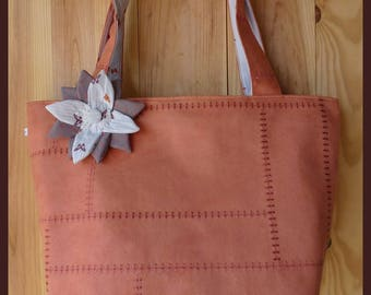 "Large tote bag ""My flower"" color suede rust"