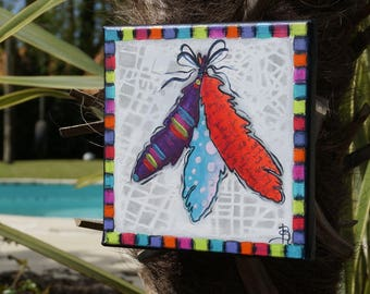 Feather painting colorful painting