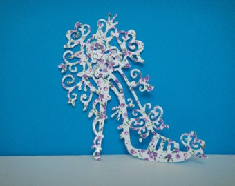 Cut out heel needle flower for creating high quality gloss photo paper
