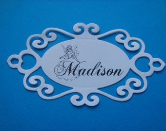 Cutout tag personalized name black in white canson paper for creation (specify your name)