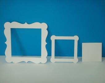 Cut set of white frames for creation