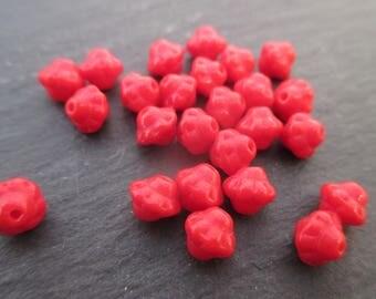 Red 6 mm Czech beads-20 beads