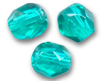 Faceted 6 mm: 12 Blue zircon beads Bohemian