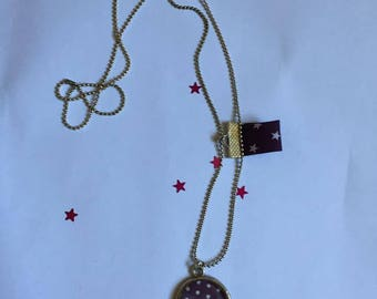 "Pendant and necklace mesh ball ""Purple polka dots and charms"" cabochon"