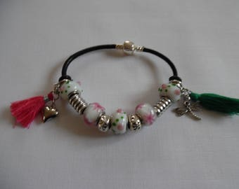 Bracelet Green Pink White charms, on black leather pandora style beads.