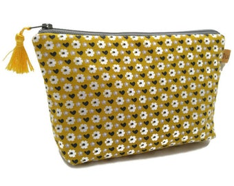 Mustard yellow makeup case pouch rėtro Rico Design accessory for bag, lined hearts, flowers, gift