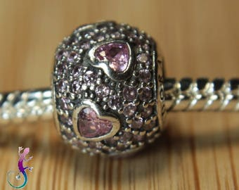 European bead charms sterling silver 925 hearts Crystal pink A52 European necklace or bracelet