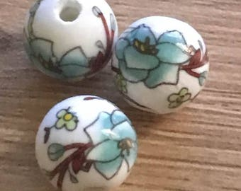 set of 10 porcelain Chinese 12 mm beads