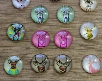 "set of 10 cabochons 20 mm ""deer"""