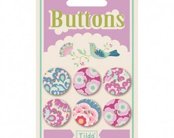 Button, TILDA, 6, 20mm, harvest, flowers card