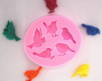 5 silicone mold for polymer clay birds