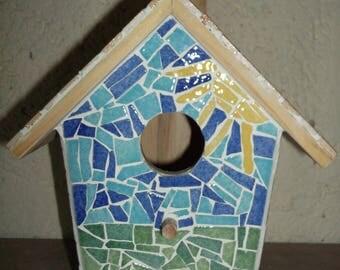 Made of mosaic birdhouse for birds