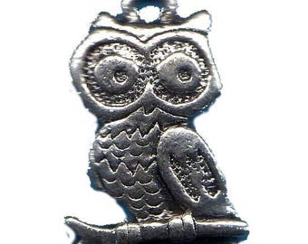 LOT 5 METALS CHARMS Silver: OWL 20mm