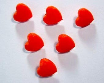 LOT 6 buttons: Red 14mm heart