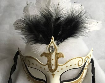 White Gold Venetian mask feathered black rhinestones
