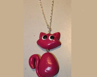 Cat pink pendant necklace