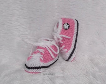 basketball shoes 0/3 month baby booties hand knitted wool pink marietricotine white hydrangea