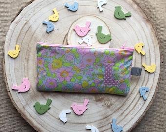 Pochette pouch or makeup bag multicolor handmade Liberty of London fabric cotton custom plasticized