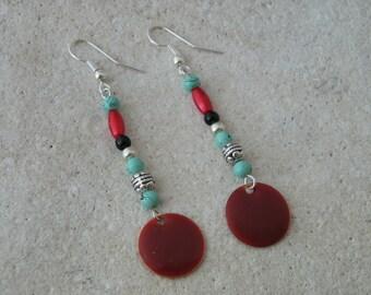 Sequin red enamel earrings