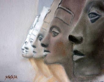 Pastel scuptures Queen Nefertiti (head)