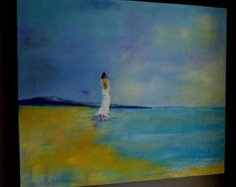 a beautiful woman on the beach painting oil
