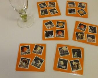 Dessous de verres carrés et plastifiés - création originale - nouvelle collection - Les Astres