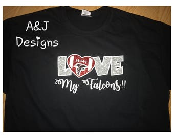 Love My Falcons T-shirt, NFL Falcons Shirt, Glitter, Female Shirt, Female Atlanta Falcons Shirt, ATL, Football, Dirty Birds, Love