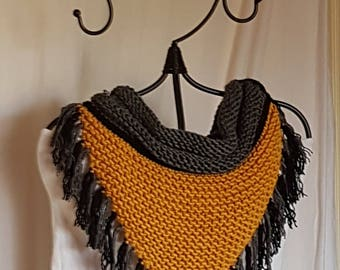 bib collar handmade color mustard gray and black