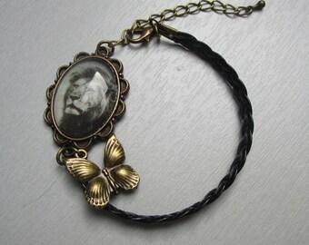 leather Lion cabochon bracelet