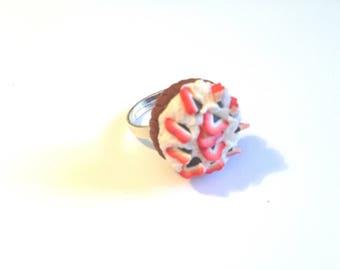 Ring - Strawberry polymer clay.