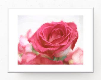 Blush Room Decor - Rose Art Print, Blush Printable Wall Art, Digital Download, Blush Home Decor, Printable Wall Art, Rose Printable, Rose