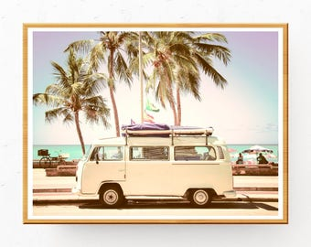 VW Bus Print, Printable Wall Art, VW Bus Photo, VW Bus Wall Art, Boho Decor, Tropical Print, Boho Photo