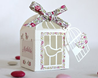 """Box dragees """"cage and birds in liberty Eloise pink"""""""